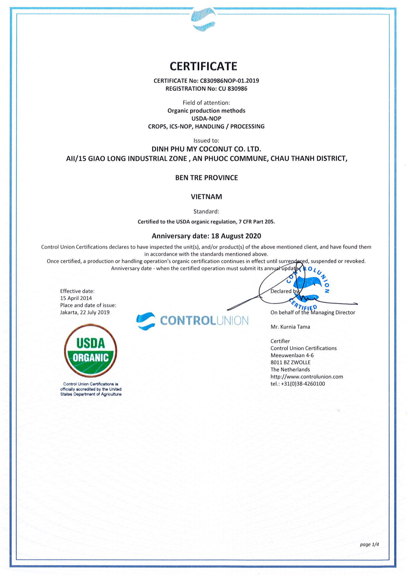 Organic certificated USDA